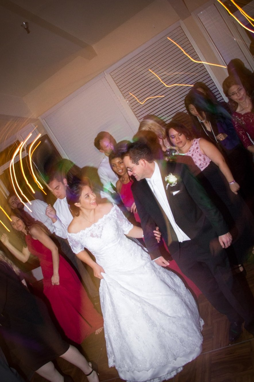Bride and groom do the cupid shuffle at Mother-Son dance at Canyon Crest Country Club