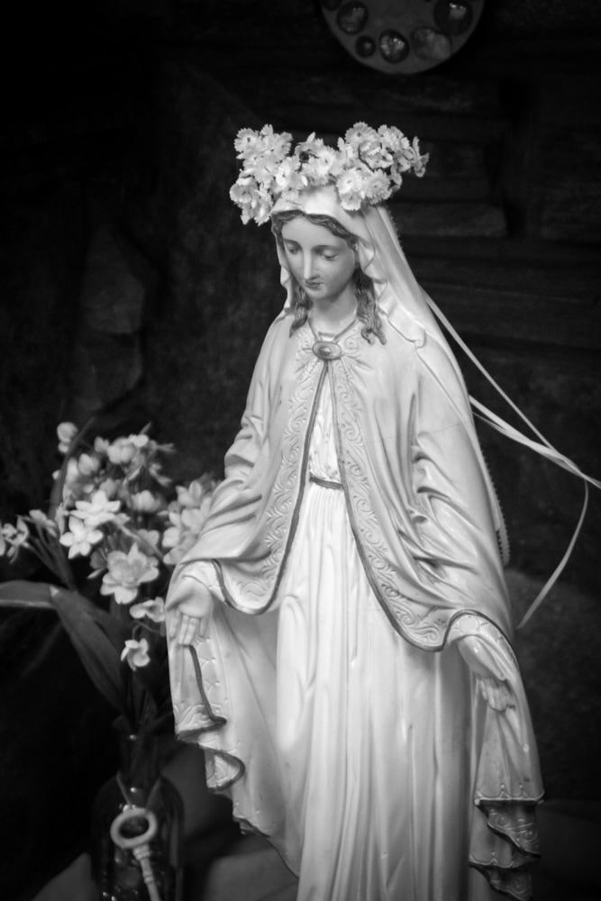Black and White photo of the Virgin Mary at St. Andrew Neman's Center