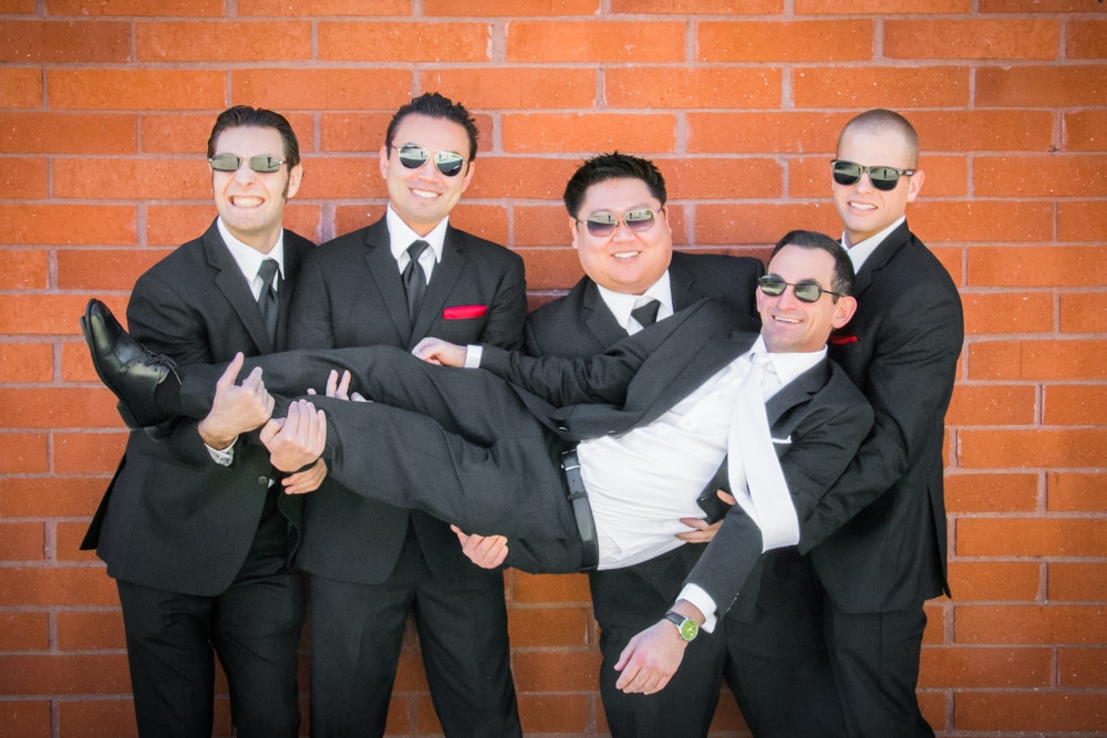 Groom and Groomsmen having fun in Riverside CA