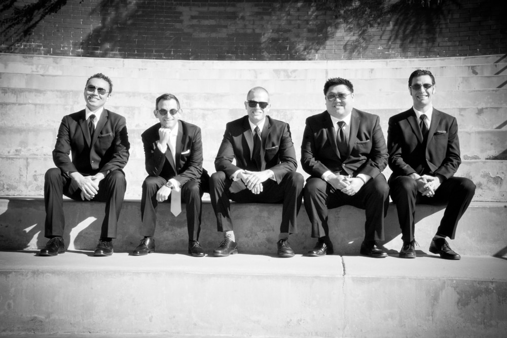 Groom and Groomsmen pose for photography session