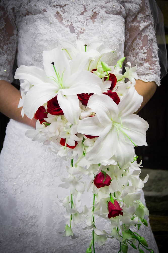 Wedding Flower Bouquet of white Lilies and red roses from Riverside Mission Florist