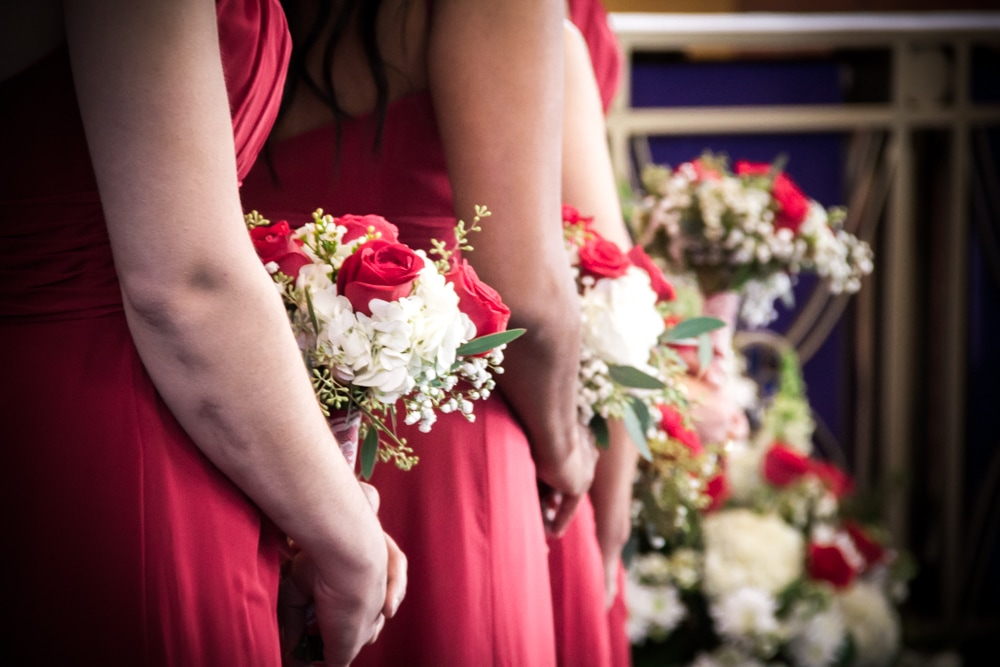 bridesmaids red and white christmas bouquets