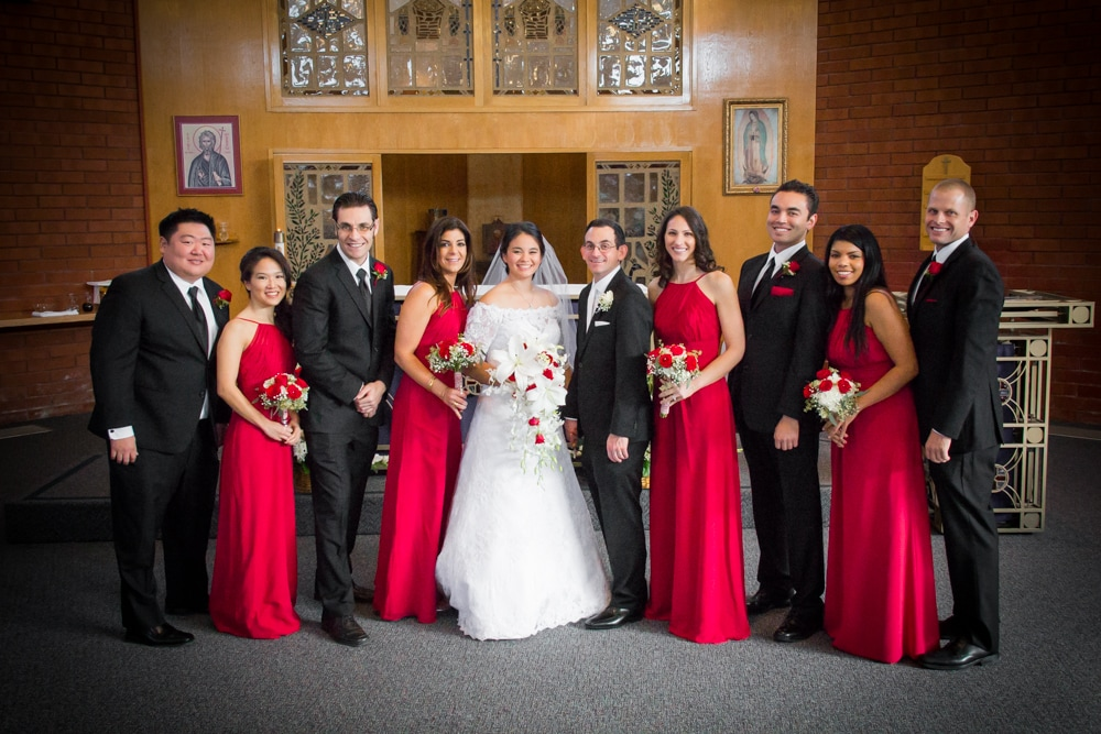 Red White and Black dressed bridal party