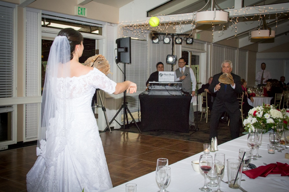 Bride and her Father play catch with a baseball at Canyon Crest Country Club