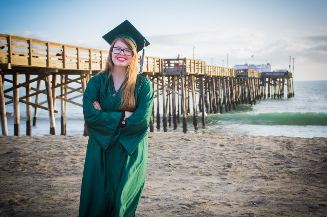 Female Senior Grad Photo at Balboa Pier