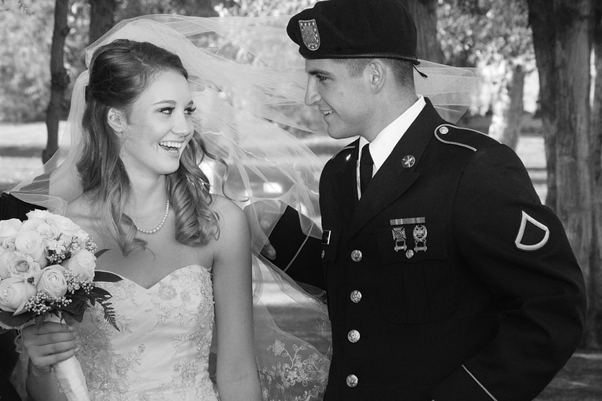 Black and white portrait of Military Groom and Bride at Neil Snipes Park in Norco, CA